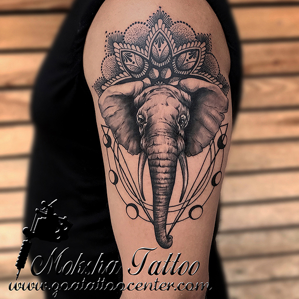 Geometric-Elephant-Tattoo-Design