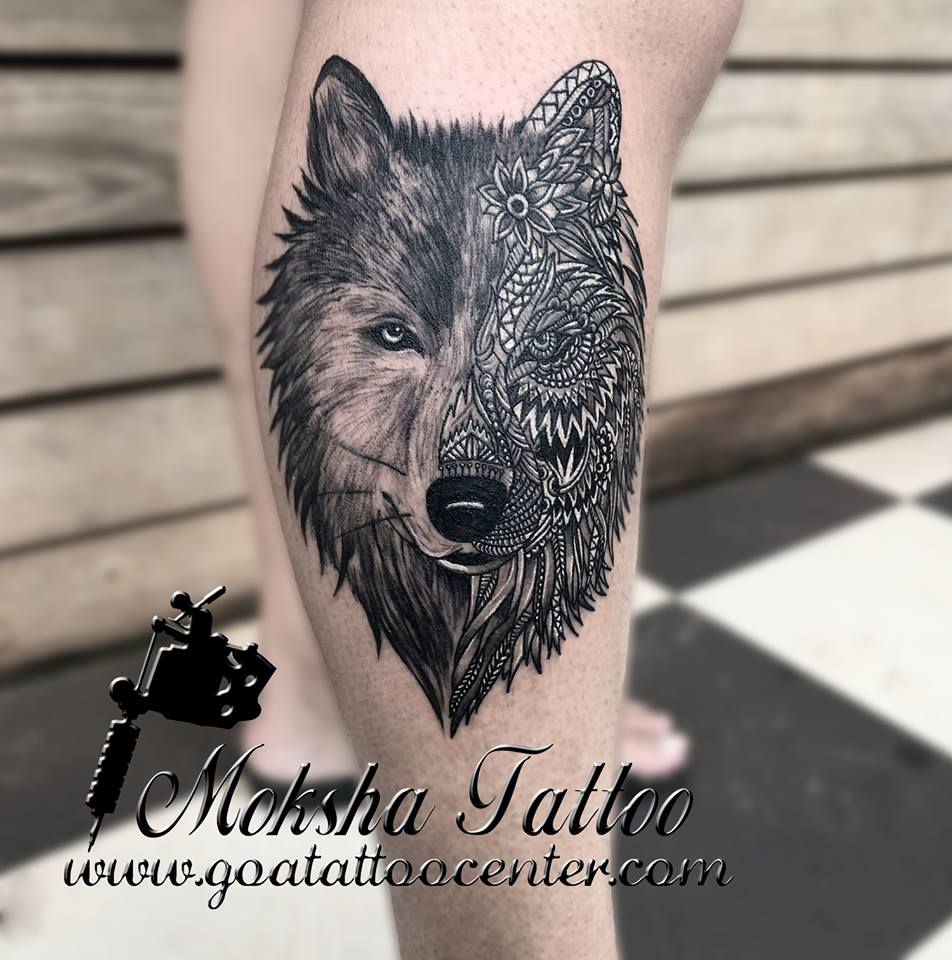 827ca8263f111 Wolf tattoo is a COLLABORATION of two artists Lead by Mr. Mukesh Waghela  supported by artist Tattooartist Vatsal Desai. The client was from Abu  Dabi, ...