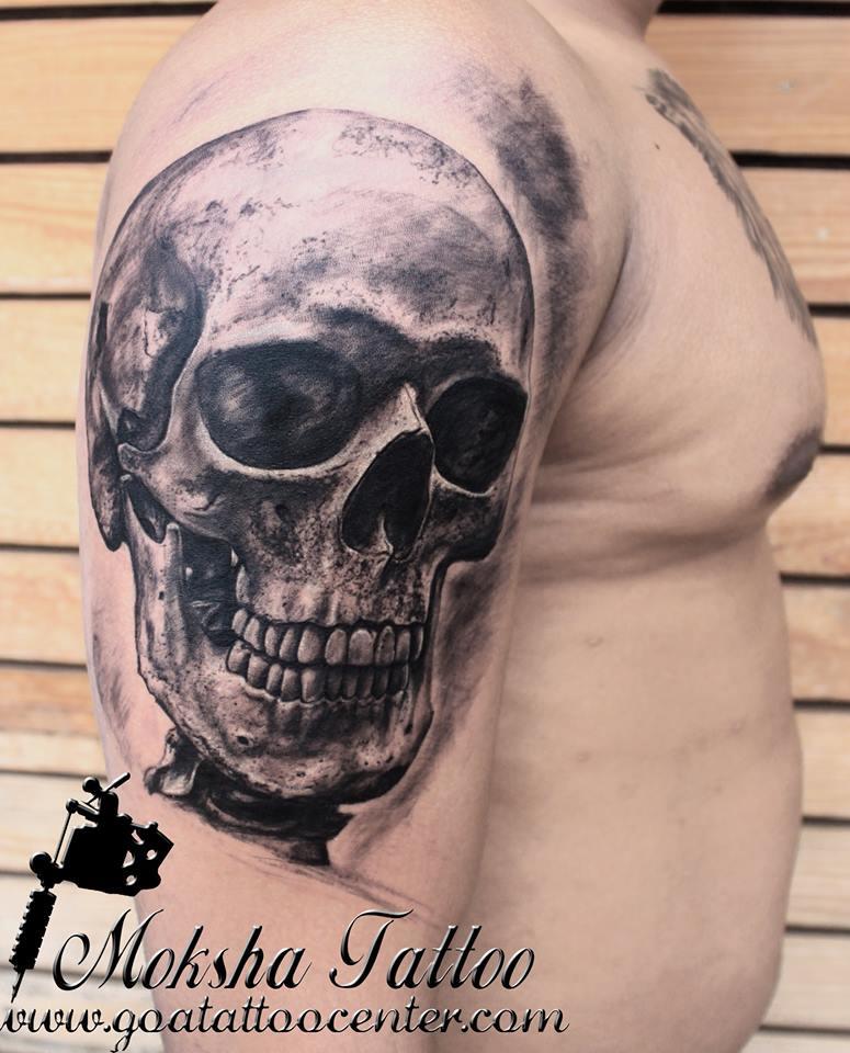 a311e82be Realistic Skull Tattoo by Shrinivas Gauda At Moksha Tattoo Studio Goa