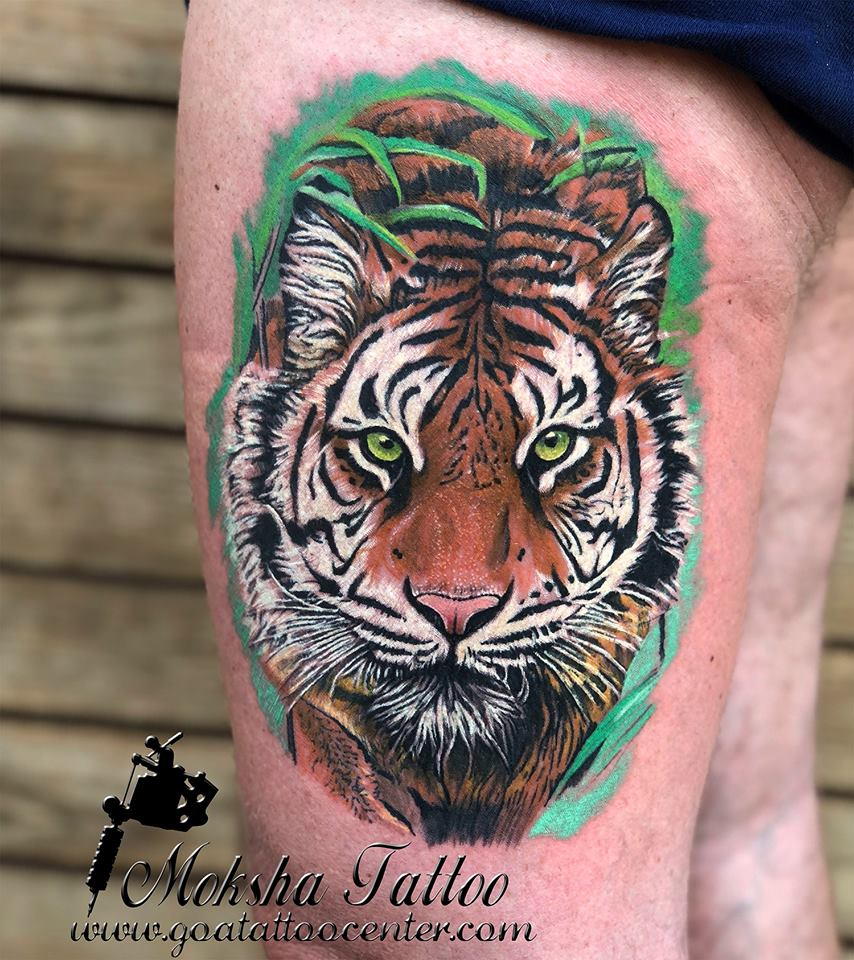 This tiger tattoo was done by mukesh waghela for Best tattoos artist