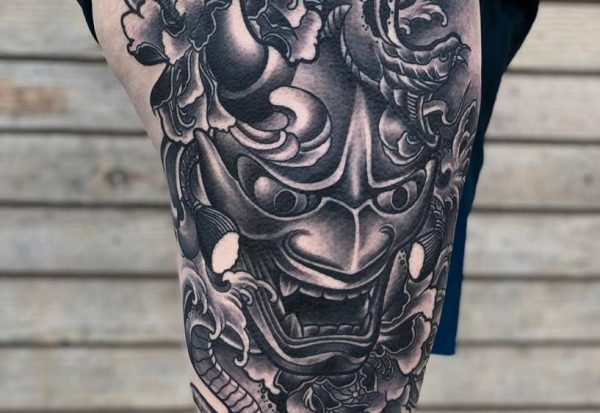 Hannya Mask Tattoo Was done by Mukesh at Moksha Tattoo Studio Goa
