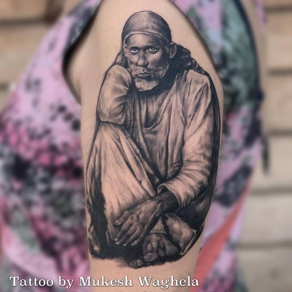SAI BABA TATTOO by Mukesh Waghela at Moksha Tattoo Studio