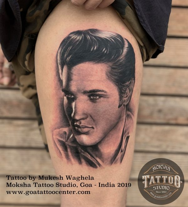 Elvis Presley Portrait Tattoo executed by using Mukesh Waghela At Tattoo Seminar